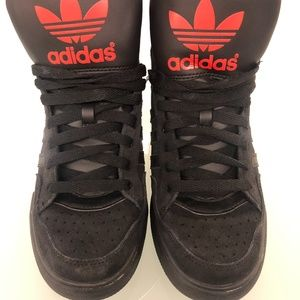 Adidas high top sneakers extraball black red